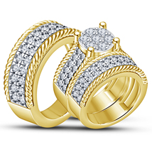 14k Yellow Gold Finish 925 Sterling Solid Silver His Her Wedding Trio Ring Set - $156.99