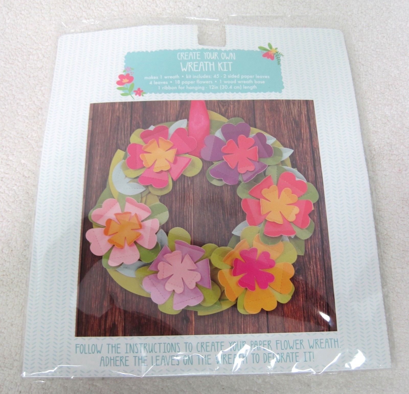 Primary image for MIP Horizon Make Your Own Flower Wreath Kit Bright Spring Sumer Color Paper Wood