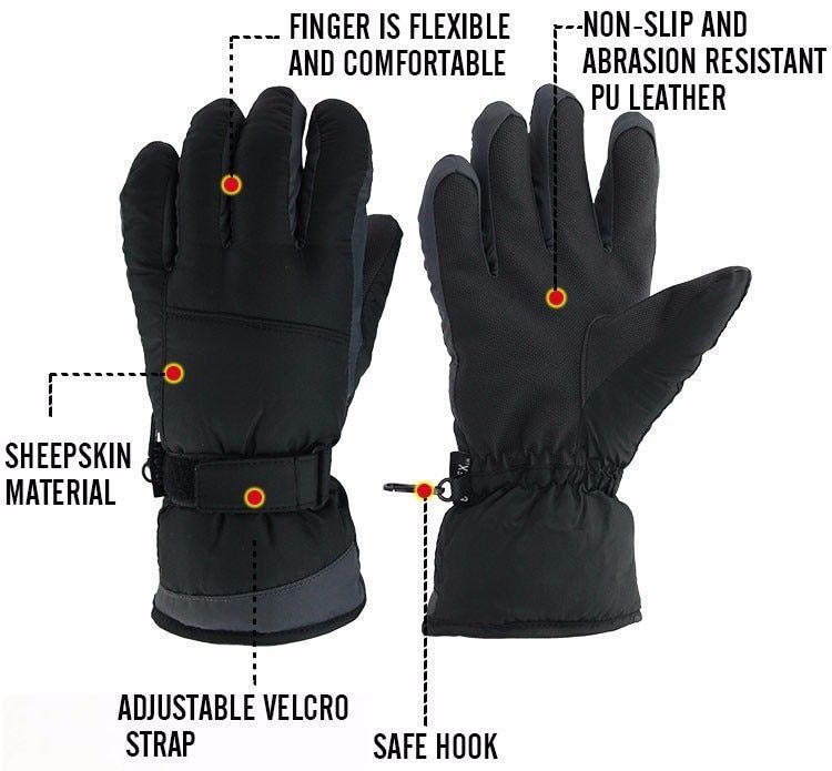 Winter Warm Ski Glove -30 Degree Windproof Waterproof Unisex Security Protection image 7