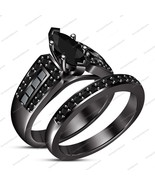 14k Black Gold Fn Marquis Round Diamond Bridal Engagement Wedding Rings Set Band - $74.35