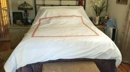 William Sonoma Queen CHAMBERS GREEK KEY Orange Embroidered Border DUVET ... - $99.99