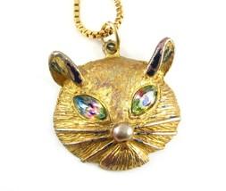 Rainbow Rhinestone Eyes Cat Pendant Vintage Necklace Avon Box Chain Goldtone - $16.99