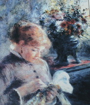 Lady Sewing Renoir Artwork Cross Stitch Collectibles Heirloom Chart RE-07 - $11.39