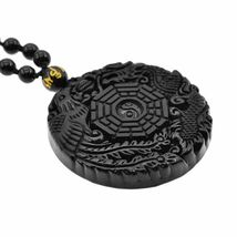Lucky Pendant Necklace Natural Obsidian Carved Chinese Dragon Phoenix Bagua image 7