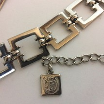 Vintage Chain Belt Square Links LC Logo Tag Silver Tone - $19.75