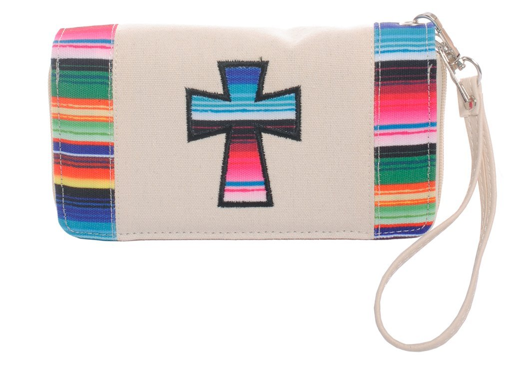 Striped Cross Wallet Wristlet Clutch Purse (Ivory)