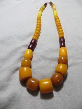 "Old Vintage Amber colored Resin Graduated beads necklace 28"" inches long  - $129.99"