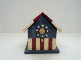 handmade wooden painted decorative bird house planter colonial American ... - $19.39