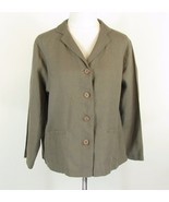 EILEEN FISHER  Size L 12 14 Neutral Taupe Beige Linen Jacket - $39.99