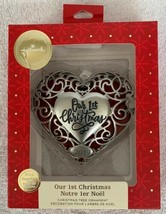 Our First Christmas 3-D Silver Metal Heart photo frame  2019 Hallmark Or... - $16.82