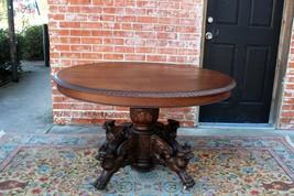 French Antique Oak  Renaissance Hunt Scene Oval Kitchen Table / Occasion... - $2,070.00