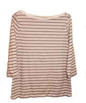 Women's White Top With Black Strips-Size L - $6.99