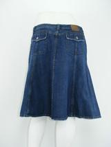 ISAAC MIZRAHI Jean Skirt Blue Denim Gored Flaps Below Knee Flare Sz 8 - ... - $19.68