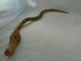"""Vintage Articulated Wooden COBRA TOY SNAKE 24"""" LONG HAND MADE RARE! image 4"""