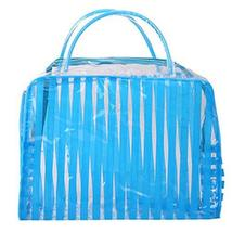 4 Pcs Blue Striped PVC Waterproof Wash Bag Cosmetic Pouch