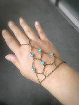 Bohemian Net Slave Bracelet Aqua Beaded Net Hand Chain Antique Brass Cag... - $66.00