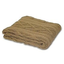 Latte Aran Cable Knit 100% Cotton Heavyweight Throw 140 X 190 Cms