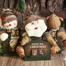 New Christmas Calendar Countdown Wood Desktop Doll Decor Ornaments Xmas ... - $19.80