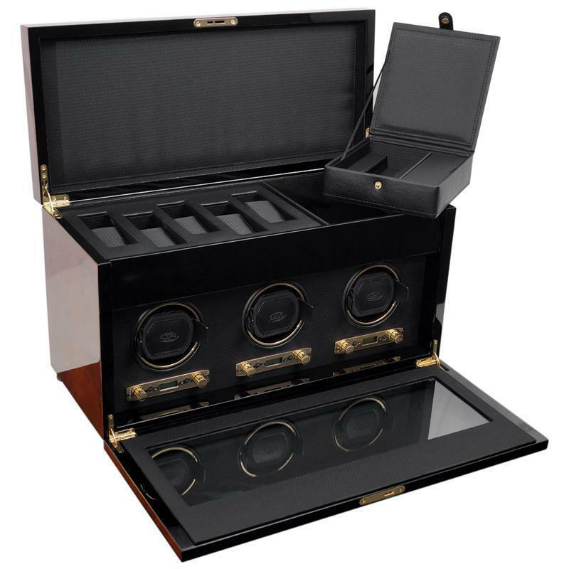 WOLF Savoy 2.7 Triple Watch Winder with Cover and Storage Burlwood 454710