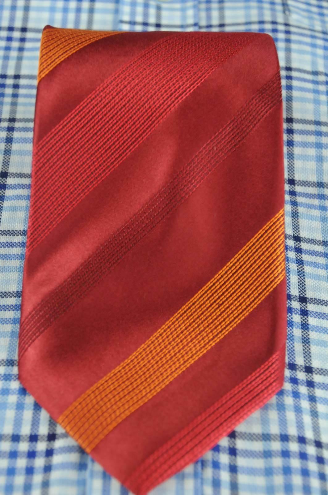 Kenneth Cole Men's Tie Ruby & Orange Striped Woven Silk Necktie 60 x 3.5 in. image 2