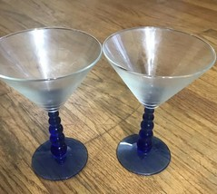 Lot Of 2  5x Ball Cobalt Blue Stem Goblets Glasses AA131 - $12.59