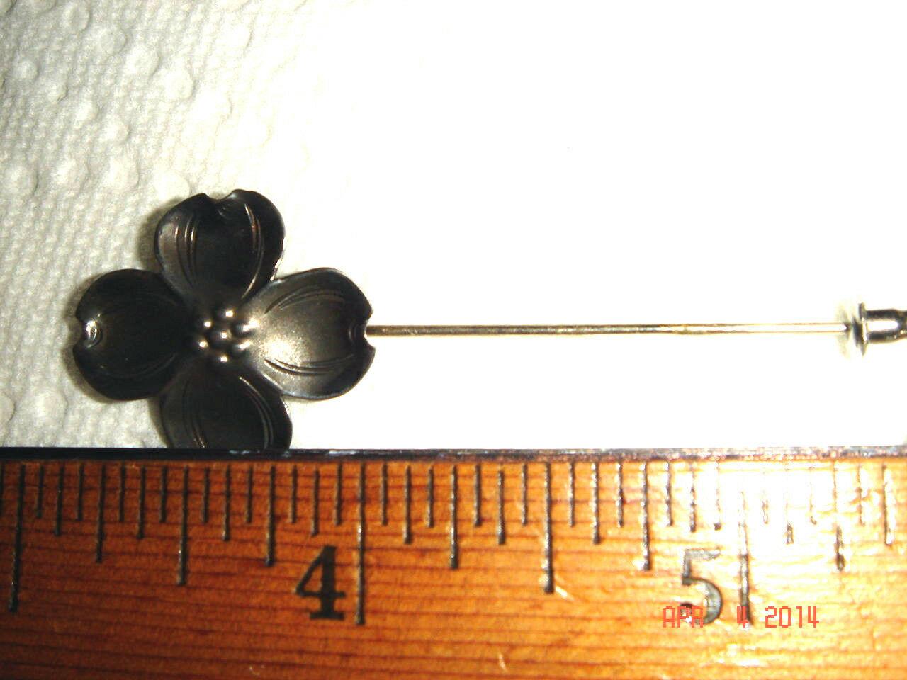 VTG 925 STERLING SILVER FLORAL DOGWOOD STIK PIN ADJUSTABLE RING CLIP EARRING SET