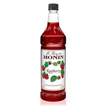 Monin - Raspberry Syrup, Sweet and Tart, Great for Cocktails and Lemonades, Glut