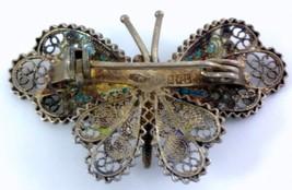 Butterfly Brooch 800 Vermeil Filigree Enamel image 6