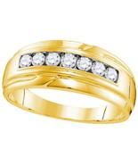 Mens 7/8Ct Diamond Single Row Wedding Band 10kt Yellow Gold - $672.21
