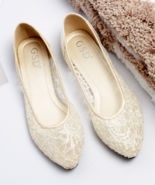 Champagne Ballet Flats Slippers Shoes Evening Lace flat Party flat Weddi... - €36,66 EUR