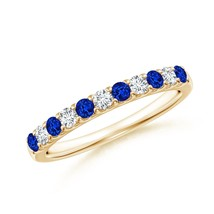 AAAA Blue Sapphire & Diamond Half Eternity Womens Wedding Band Ring Size... - $819.38+