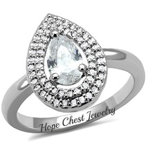 SILVER TONE 1 CARAT PEAR CUT BRIDAL CUBIC ZIRCONIA ENGAGEMENT RING SIZE ... - $14.39