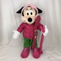 Minnie Mouse Standing Plush Pink Winter Holiday Door Greeter Ski Gear Di... - $39.59