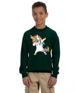 Kids Youth Sweatshirt Dabbing Unicorn Cute Rainbow Girly Dab Dance - $28.94