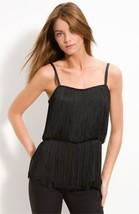 NWT THEORY fringed tunic cami top M designer high-end black $325 flapper... - $116.39