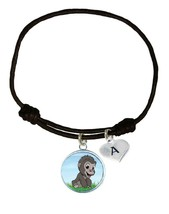 Custom Baby Gorilla Black Unisex Bracelet Jewelry Gift Choose Initial Charm - $13.94