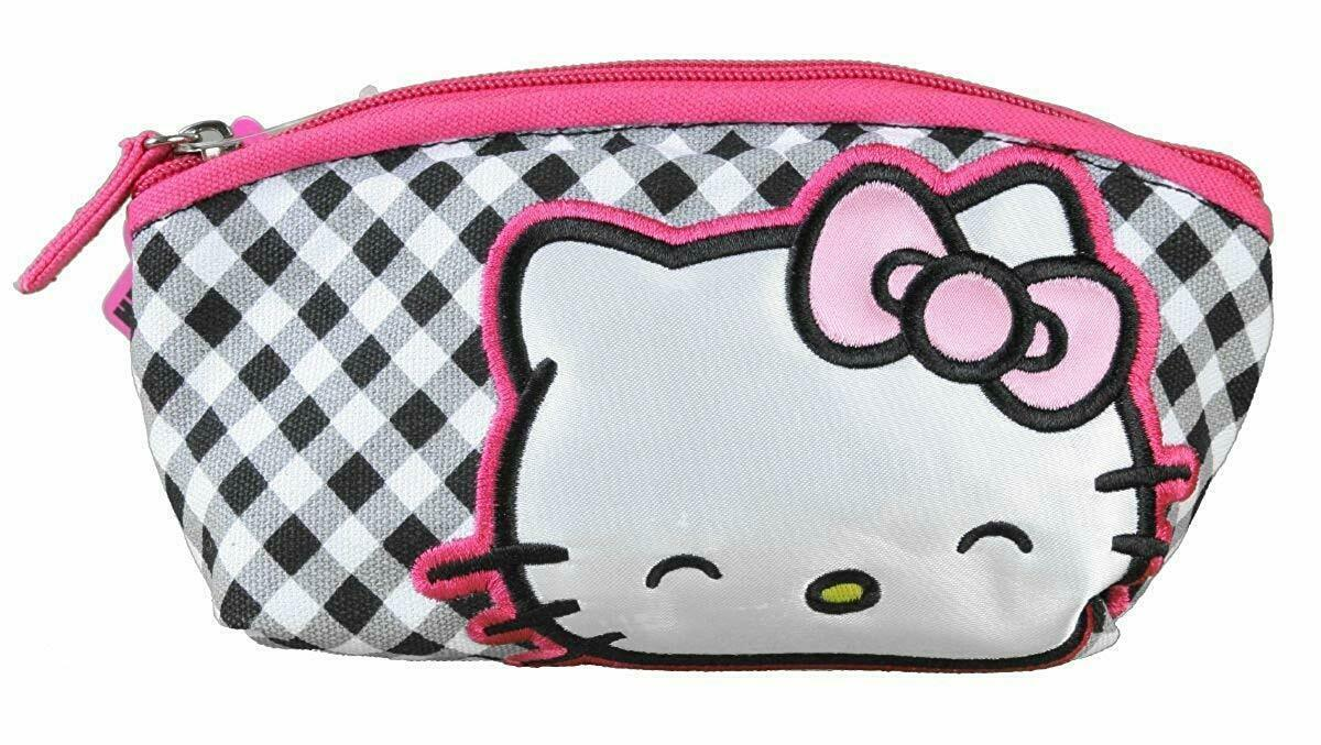 Hello Kitty Sanrio Gingham Bow Cosmetic Bag Makeup Case Bag NEW