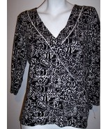 Charter Club Top M Artsy Stretch Knit Black White Shirt Blouse Women's M... - $22.75