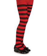 Girls Red and Black Striped Tights   - $6.00