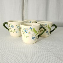 Vintage Franciscan Ware Forget Me Not Floral Coffee Cup Mug White Blue Q... - $89.05