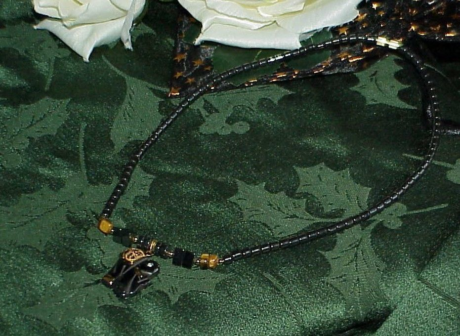 """17"""" Hematite Gold Elephant Necklace Protection from Negativity & Stress Healing"""
