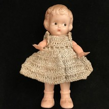 "Vntg 6"" Knickerbocker Doll Crocheted Dress w Bloomers and Glass Bead Ne... - $14.25"