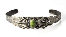 "Antique Sterling Silver Arrow 1930's Green Turquoise Bracelet 15mm 5.5"" - $69.29"
