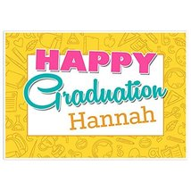 Yellow Hand Drawn Class of 2018 Graduation Banner Personalized Backdrop - $787,44 MXN