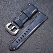 High Quality Vintage Crazy Horse Genuine Leather Watchband Red Blue Brown Watch  image 4