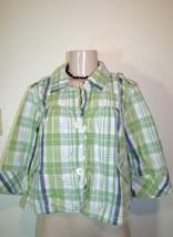 FRENCH CUFF Sz M Blue Green Plaid Cotton Preppy Cropped 3/4 Sleeve Jacket - $9.49