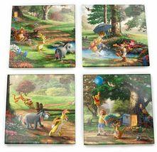 Thomas Kinkade Winnie the Pooh Prints 4 Piece Fused Glass Coaster Set w Holder image 7