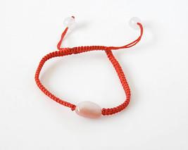 Pink Opal Bracelet with Red Macrame, Charm Bracelet, adjustable - $35.00