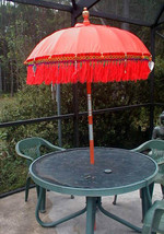 Umbrella Bali ORANGE Two (2) ornamental Balinese Indonesia aprx 7' x 4' ... - $447.80 CAD