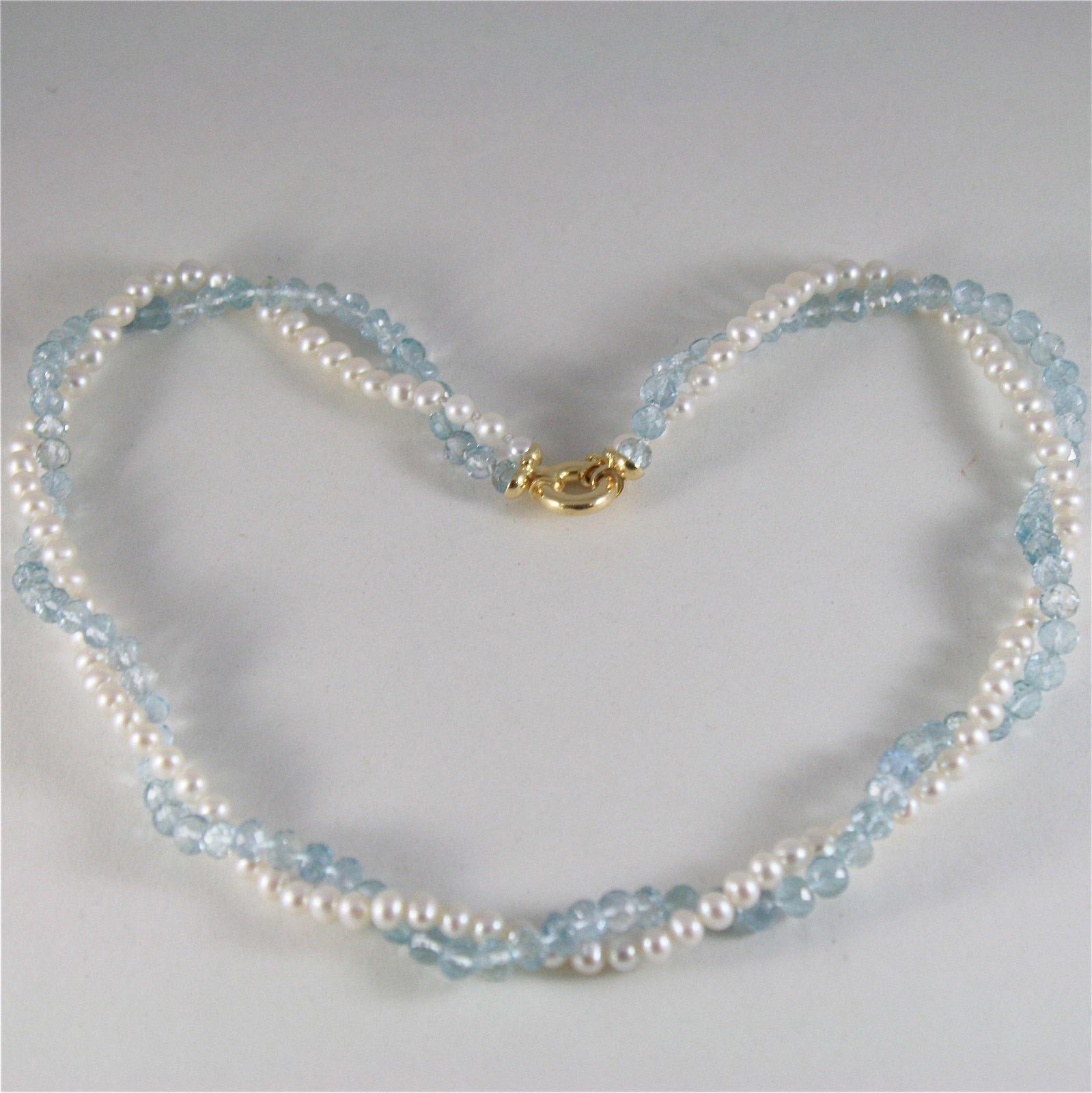 SOLID 18K YELLOW GOLD NECKLACE WITH ROUND PEARLS AND AQUAMARINE MADE IN ITALY